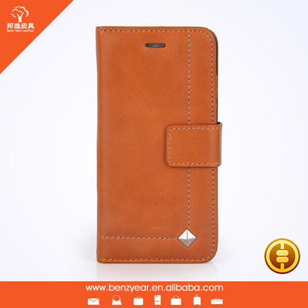 New phone case design tan genuine leather card holder phone case for I phone6