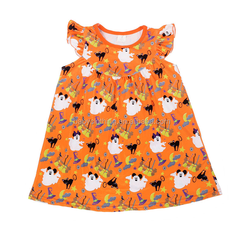 Halloween kids clothes 2017 festival long sleeve dress latest children frocks designs