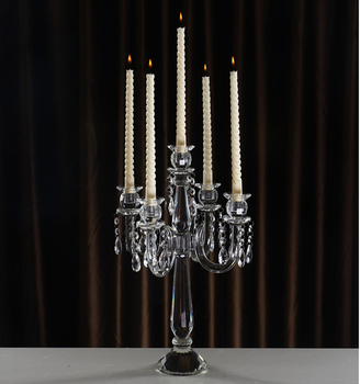 Tall Whole Beautiful Crystal Pillar Candle Holder For Wedding Decoration