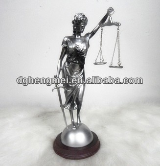 Resin justice statue