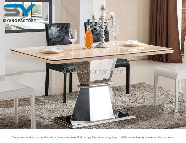 Malaysia Stainless Steel Italian Dining Table Sets With Manmade Marble CT033