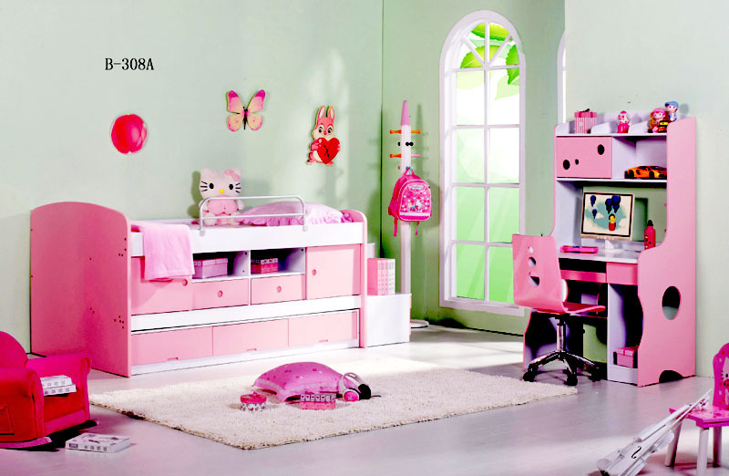 Amazing Factory Price Cinderella Bed Set , Writing Tables Mdf For Children, Girls Bedroom  Sets