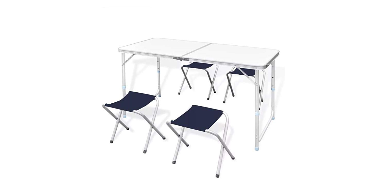 "K&A Company Table Set Camping Foldable with 4 Stools Height Adjustable 47.2""x23.6"""