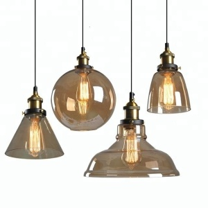 Coffee shop retro style glass pendant light modern glass ball lamp factory price