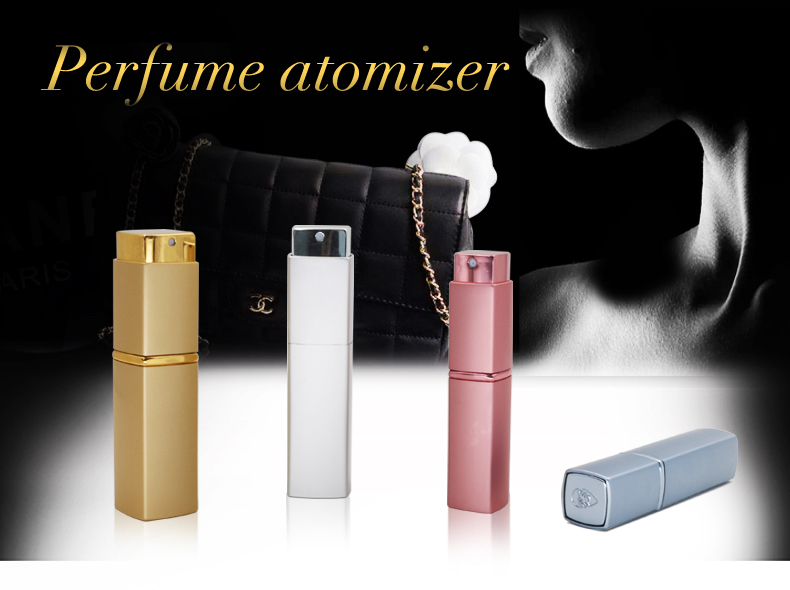 8ml 10ml 15ml 20ml gold square travel perfume atomizer