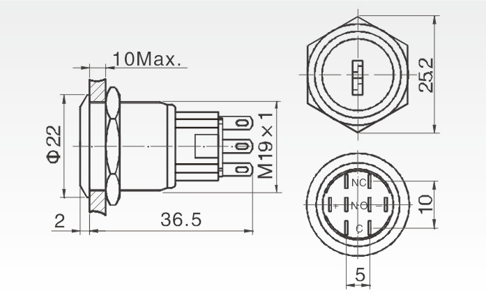 19mm ip67 key switch 3 position select rotary push button