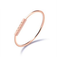 Polishing Stainless Steel Rose Gold Love Word Simple New Design Ring for Women Friend