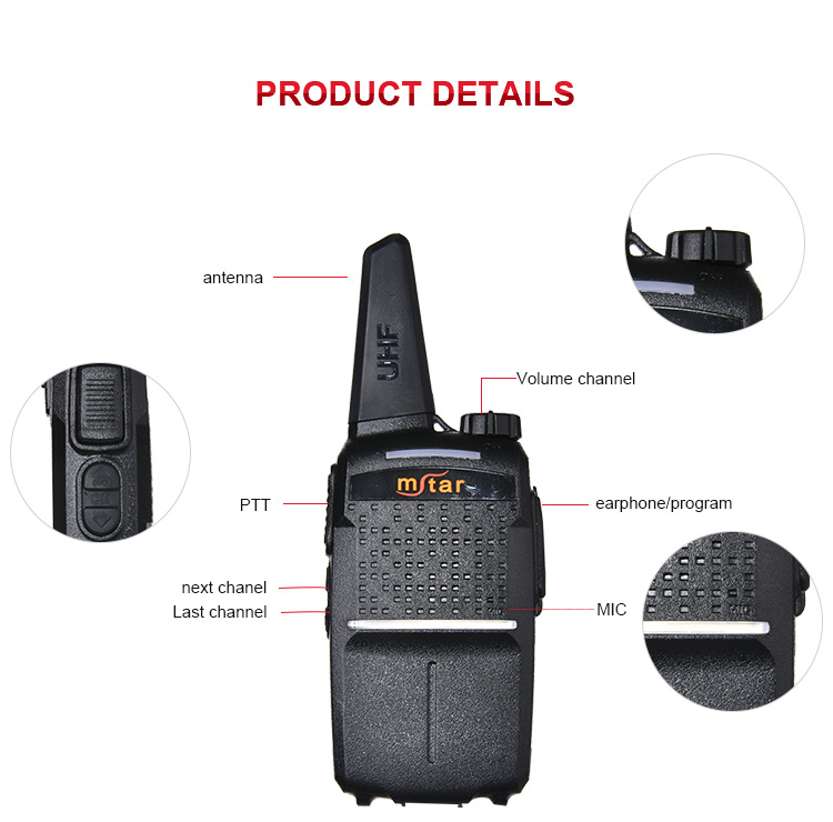 Mstar MX-66 136-174MHz 400-470MHz VHF Band Portable Dual Band Walkie Talkie