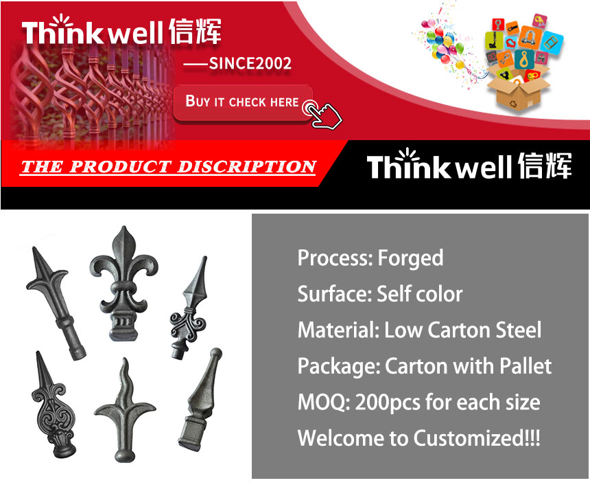 Gate Accessories Ornamental Wrought Iron Art Parts Fence Spear Point