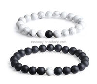 Natural Stone Jewelry Gift Long Distance Relationship Black White Matte Onyx Gemstone Couple Bracelets for Lovers 8mm