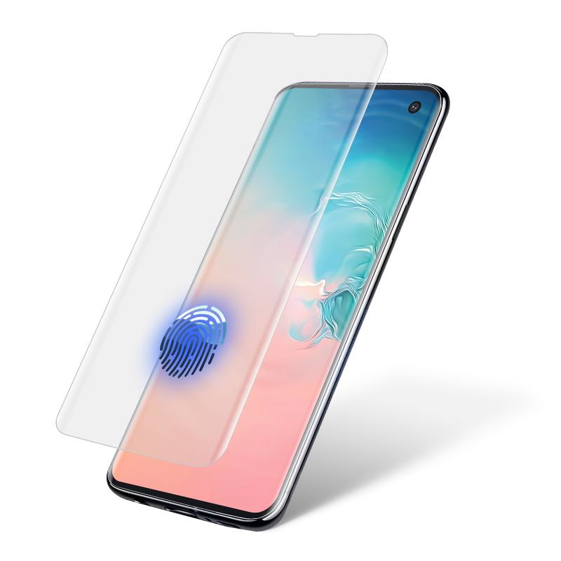 นิ้วมือปลดล็อค S10 กาวเต็มกระจกนิรภัยป้องกันหน้าจอสำหรับ Samsung S10 Liquid Screen Protector UV Light