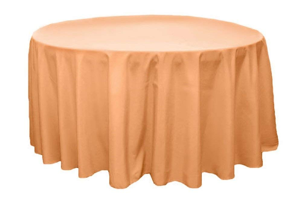 "2 Plastic Round Tablecloths 84"" Diameter Table Cover - peach melon"