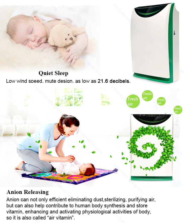 High Efficiency Hepa Filter Home Portable Odor Ionization Air Purifier Machine