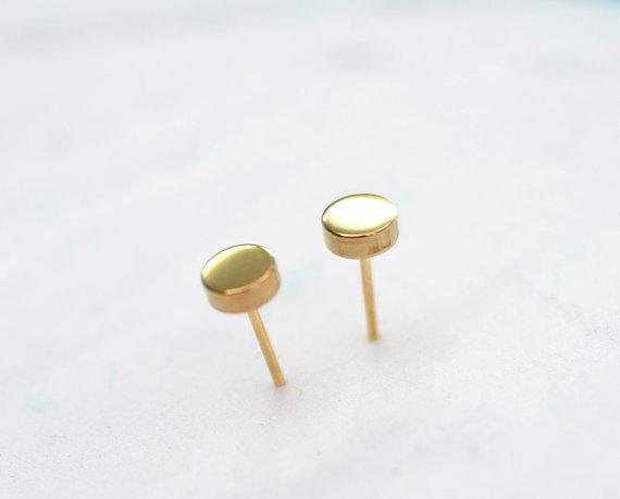 1Pair- S025 Fashion tiny Simple Round Pie Earring Stud ...