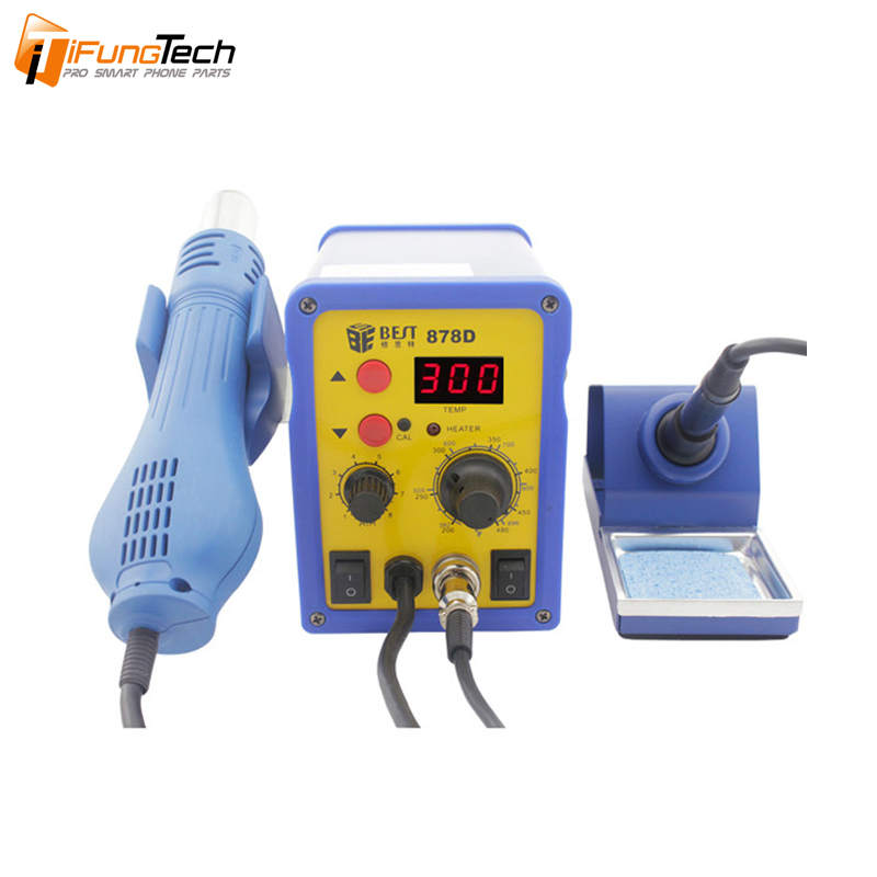 BST-878D 2 IN 1 single LED displayer leadfree hot air gun with helical wind+ solder station -single displayer desolder station+