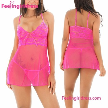 29aa77f67 Oem Hot Pink Lace Sexy Women Mature Sexy Lingerie Babydoll Dress ...
