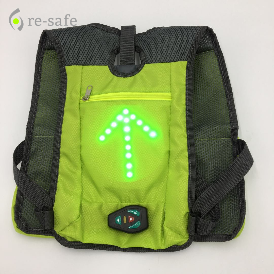 LED Wireless Safety Turn Signal Light Vest For Bicycle Riding Night Backpack