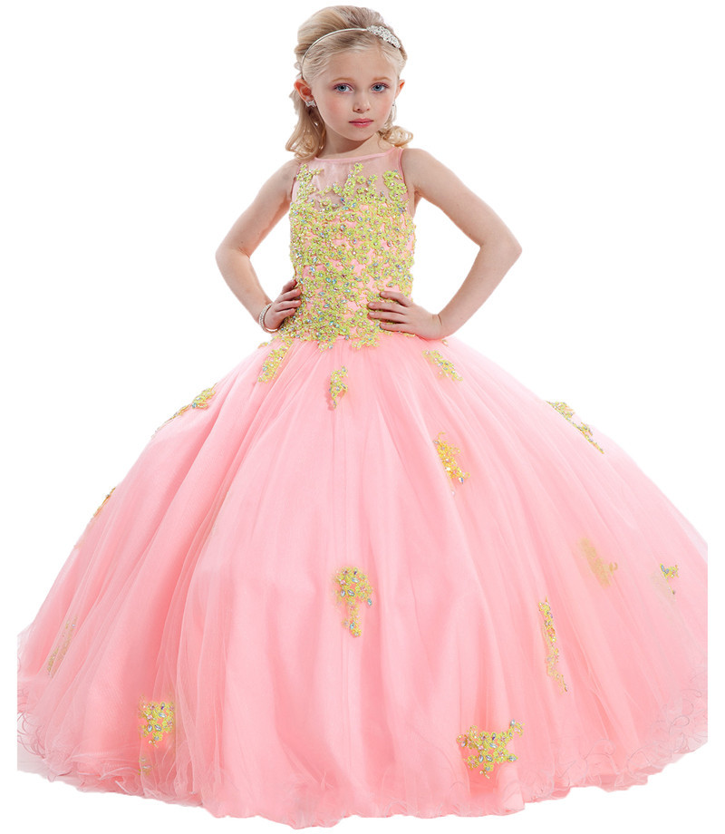 Buy 2015 New Arirval Pink Teal Blue Appliqued Tulle Ball Gown Flower ...