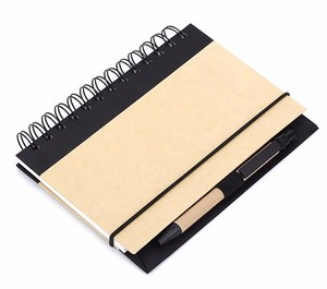 Factory price high quality black coil recycled green paper notebook
