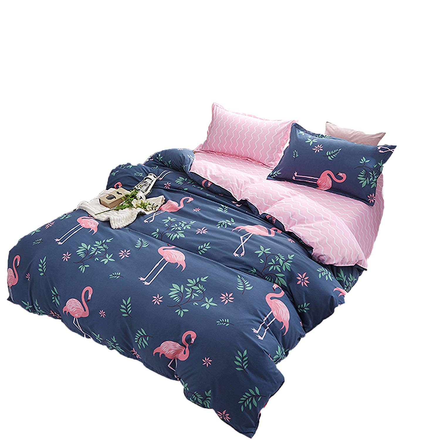 Kimko Kids Flamingo Bedding Set- Children Reversible Pink Flamingo Pattern & Dark Blue Cover -4Pcs -1 Duvet Cover Set + 1 Bed Sheet + 2 Pillowcases (# Flamingo, Full)