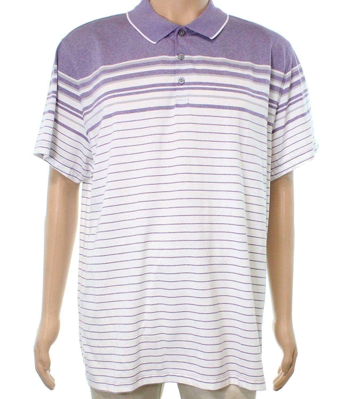 302fa47f0ec37a Get Quotations · Alfani Mens Large Polo Striped Short-Sleeve Shirt Purple L