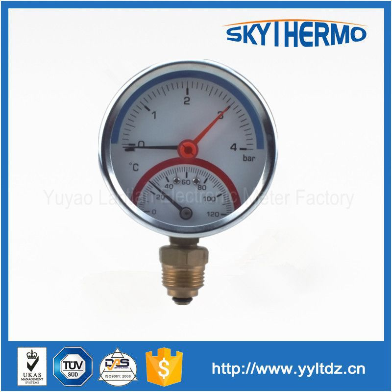 High quality 80mm black steel brass internal bottom connection pressure gauge thermometer