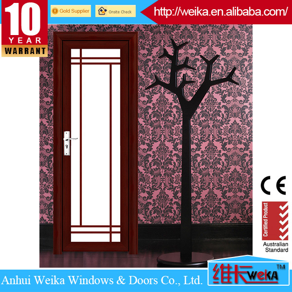 ISO9001 CE sliding interior wood bathroom door with glass