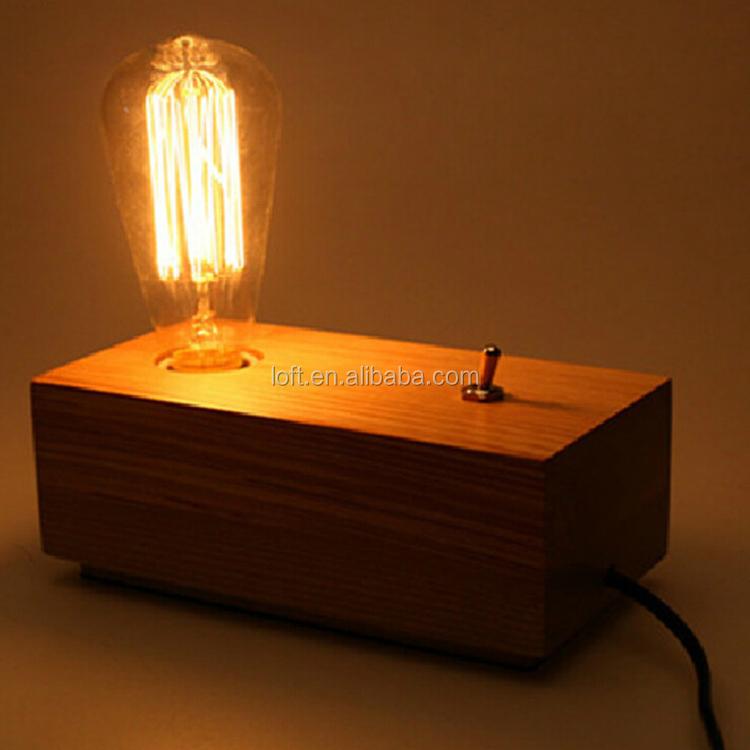 Creative Simple Wood Grain lamp Base Mini Table Lamp For Bedside ...