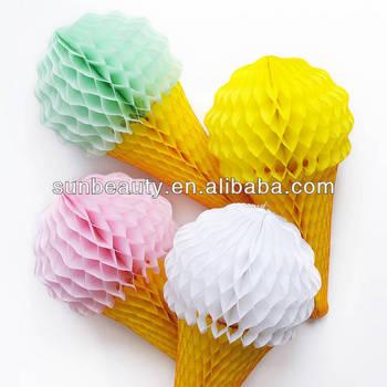 3d summer decoration ice cream cone tissue paper decoration - Tissue Paper Decorations