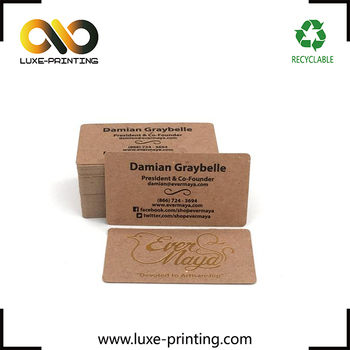hot sale paper business cards gold foil kraft paper business cards black stamping printing visiting cards - Kraft Paper Business Cards