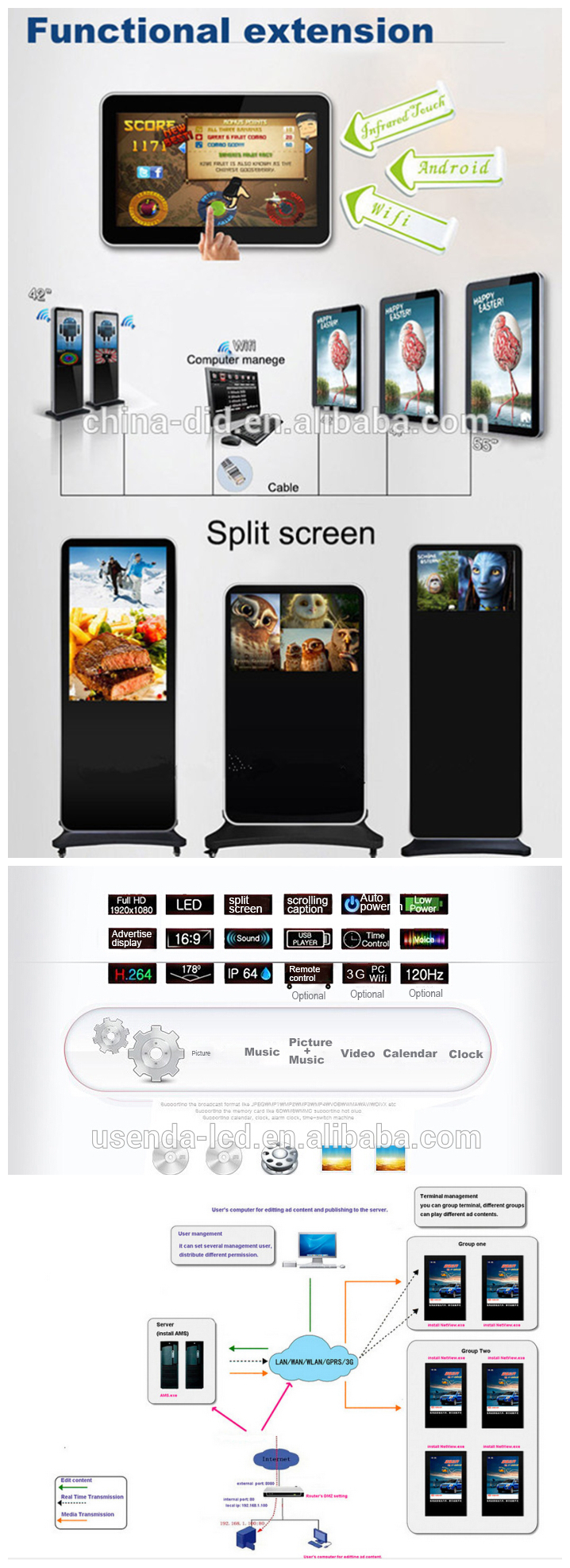 70 Inch Large Screen Digital Photo Display,Support 1080p And Split ...