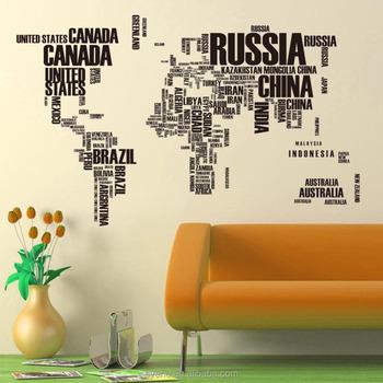 syene world map wall sticker 116*190cm xl map country name art vinyl