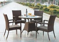 2016 UK style 4 seat dining sets with glass top round table and armchair rattan outdoor dining sets