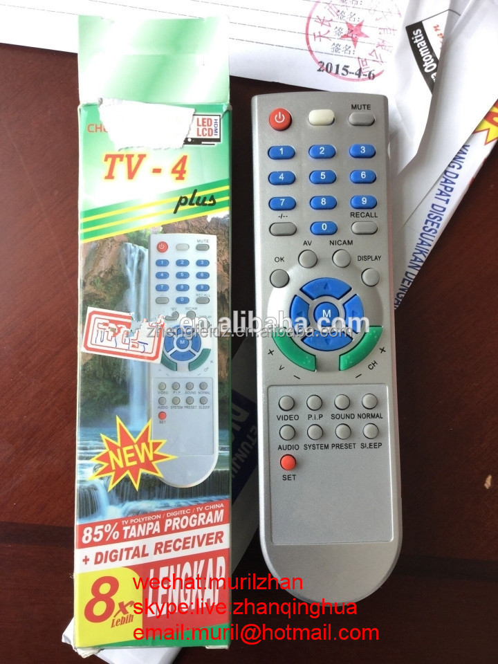 TV-4 Plus tv sat dvb receiver dvd universal remote controller LCD LED TV+Digital recevier remote control for indonesia