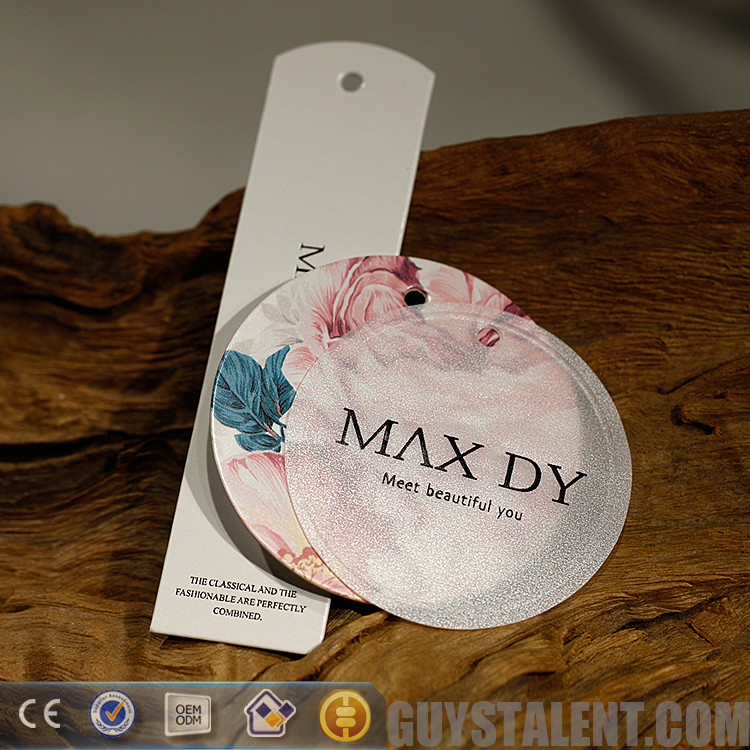 Customized professional classic paper clothing hang tag for lady dress