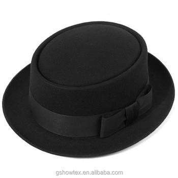 Sombrero de fieltro de lana en blanco al por mayor redondo de ala corta  porkpie barato 72e3042f9b1