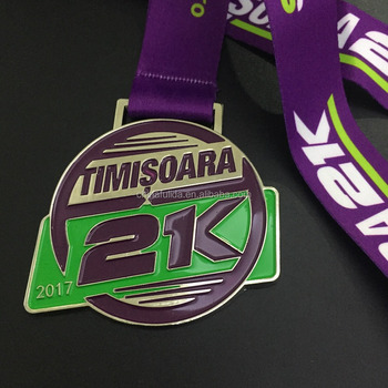 2017 Customized purple medal with full color ribbon