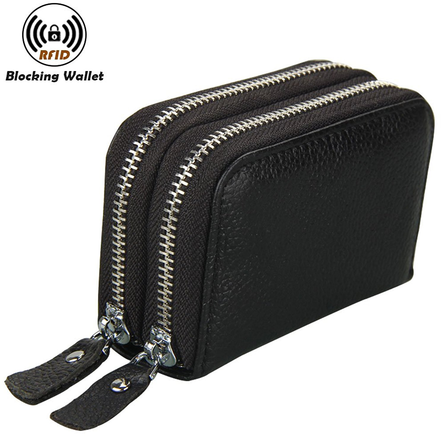 Noedy RFID Blocking Genuine Leather Card Wallet Secure Spacious Zipper Small Purses