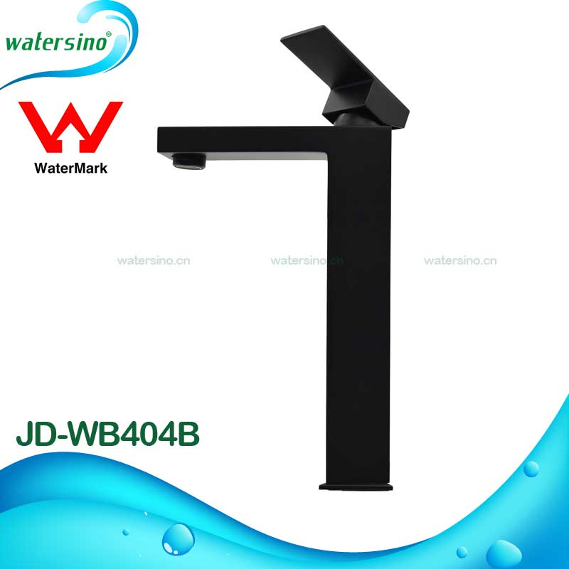 Watermark high rise black powder coating basin mixer taps for Counter basin