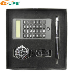 Fashion Gift Set Stainless Steel Man Watch Pen Custom Logo Scientific Calculator