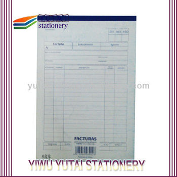 carbonless receipt service or delivery book with triple copy page