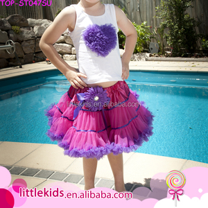 676557c3db3 Summer fancy design wholesale baby girls white lavender heart tops t shirt  and ruffle tutu skirt