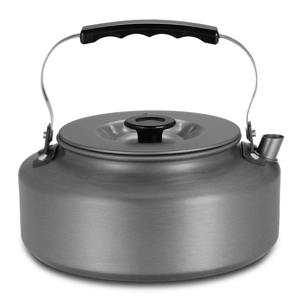 Lixada 1.1L Portable Kettle Water Pot Teapot Coffee Pot Indoor Whistling Aluminum Alloy Tea Kettle Outdoor Camping Hiking Picnic Kettle