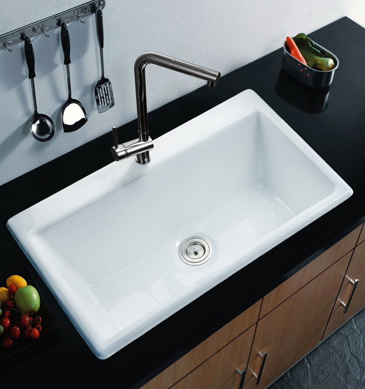 Black Kitchen Sinks South Africa: Cast Iron Enameled Sing Bowl Black Deep Kitchen Sinks