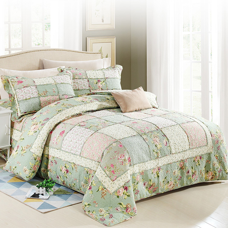 2018 brand new Bedding 4 pieces fresh green handmade patchwork quilts cover quilt