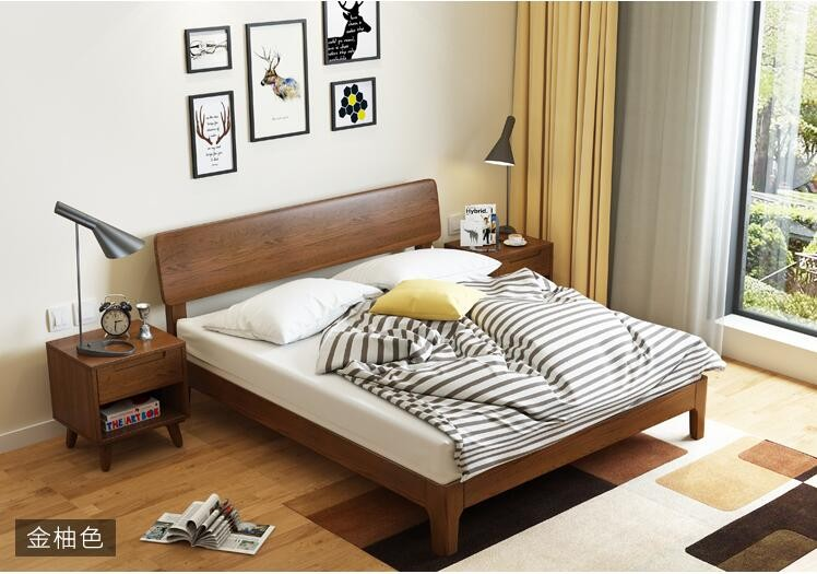Thick And Solid Wod Legs Indian Children Wooden Double Bed Designs