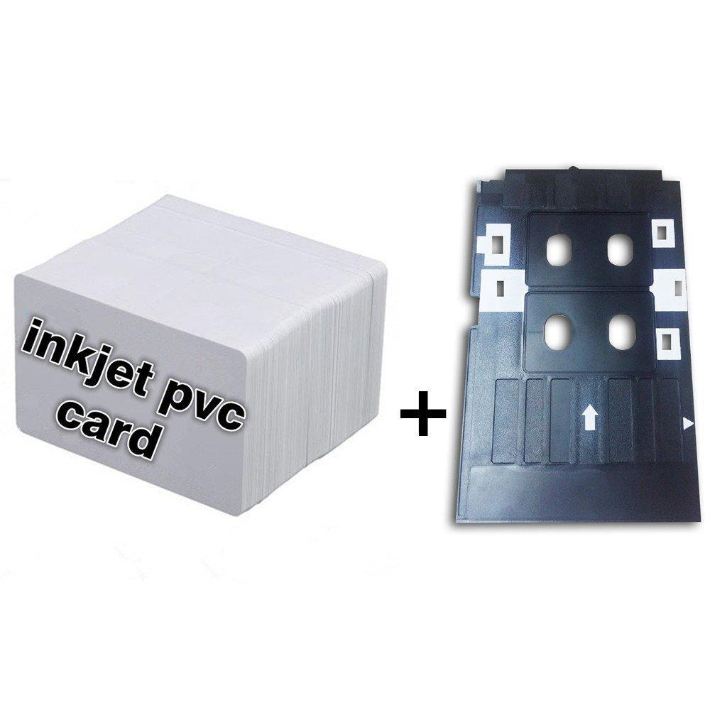 Inkjet PVC ID Card Starter Kit - Printable Inkjet PVC ID Card + Plastic Inkjet PVC ID Card Tray for Epson L800 L801 (10)