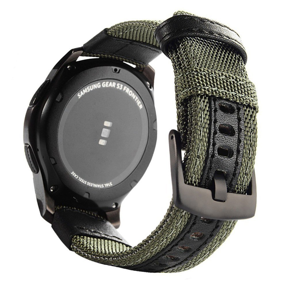 Gear S3 Nylon Bands, Alotm 22mm Woven Nylon Replacement Strap Sport Wristband Bracelet with Stainless Steel Metal Buckle for Samsung Galaxy Gear S3 Classic/Gear S3 Frontier Smart Watch (Army Green)