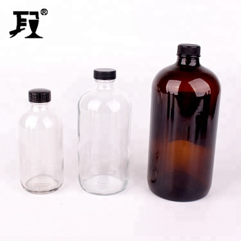 wholesale 8oz 16oz 32oz  round boston glass bottle with cap