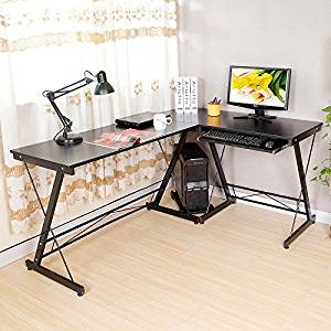 HLC L Shaped Computer Desk with Pull-out Keyboard Shelf and CPU Storage Stand